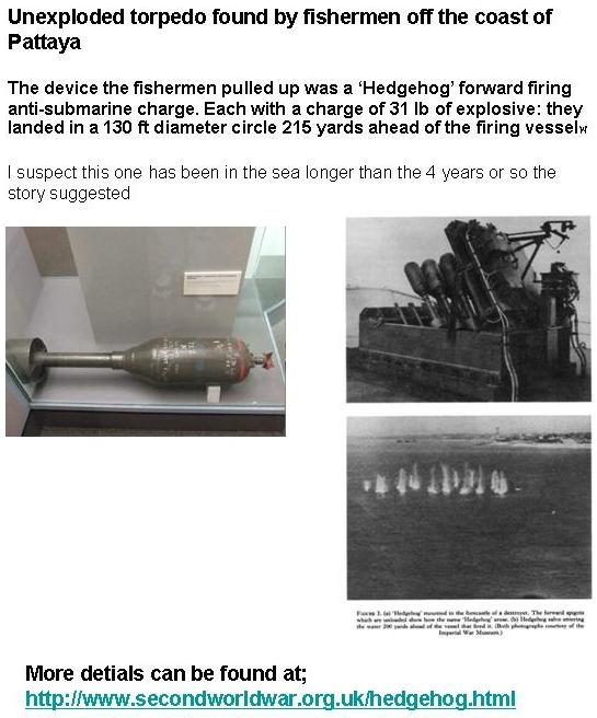 history of unexploded submarine mortar hedgehog bomb found off Pattaya, Thailand