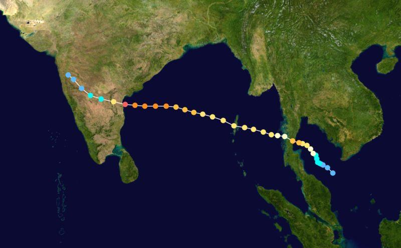 The birthplace and tracking of typhoon Gay 1989 - The first typhoon to start in the Gulf of Thailand in 40 years