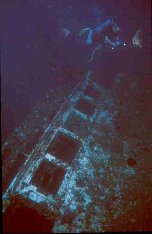 The wheel house of the old Vertical wreck at 45meters before she floated off